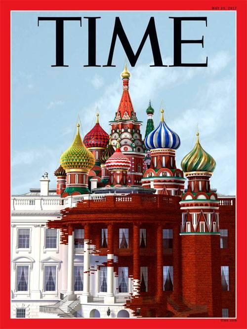 """""""Тайм"""" изобразил на обложке, как Москва поглощает Вашингтон"""