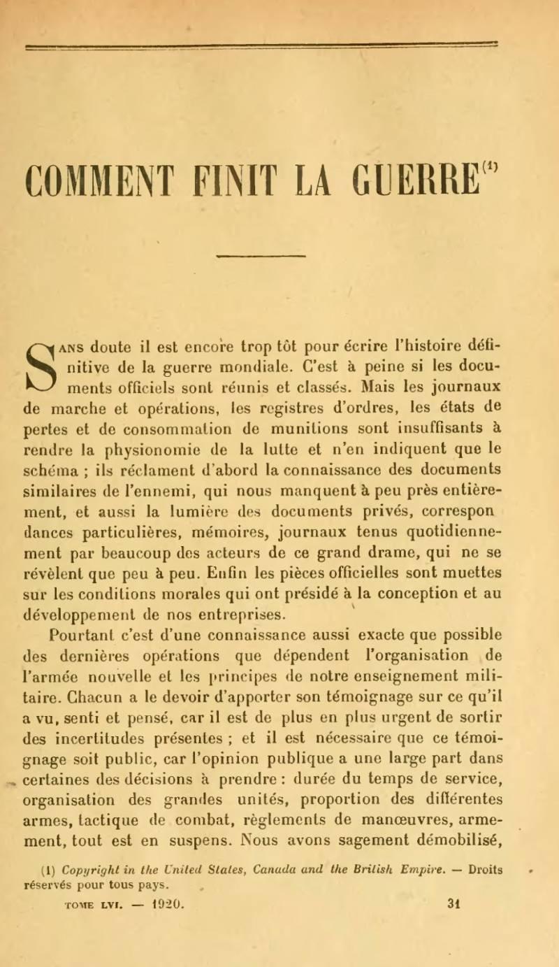Французский полководец о мировой войне