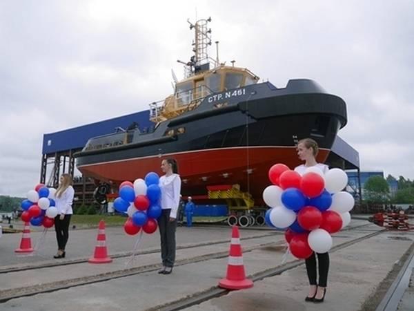 Il cantiere navale Pella lancia un rimorchiatore per raid del progetto 04690 per la flotta del Nord
