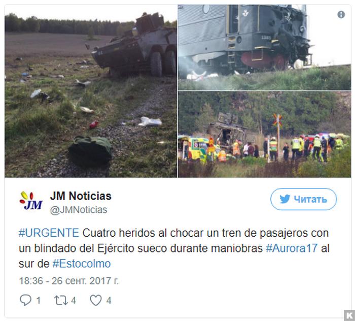 En Suecia, un transporte blindado de personal chocó con un tren de pasajeros.