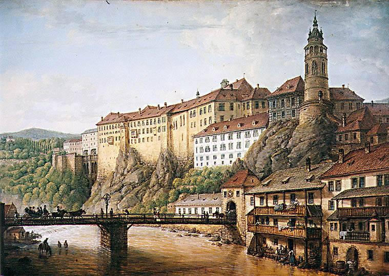 Cesky Krumlov: castelo sobre a curva