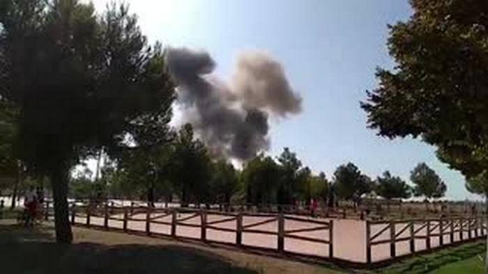 欧洲战斗机战斗机在西班牙坠毁