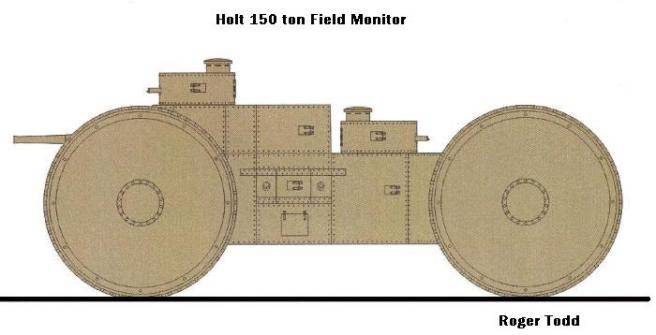 Holt 150 ton Field Monitor super heavy armored vehicle design (USA)