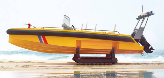 La compagnia francese ha presentato una barca cingolata