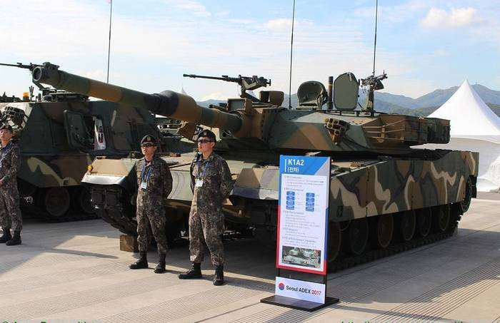 The South Korean Defense Ministry presented the K1A2 tank