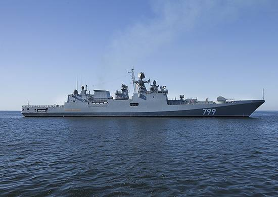 """""""Admiral Makarov"""" during the tests performed rocket shooting"""
