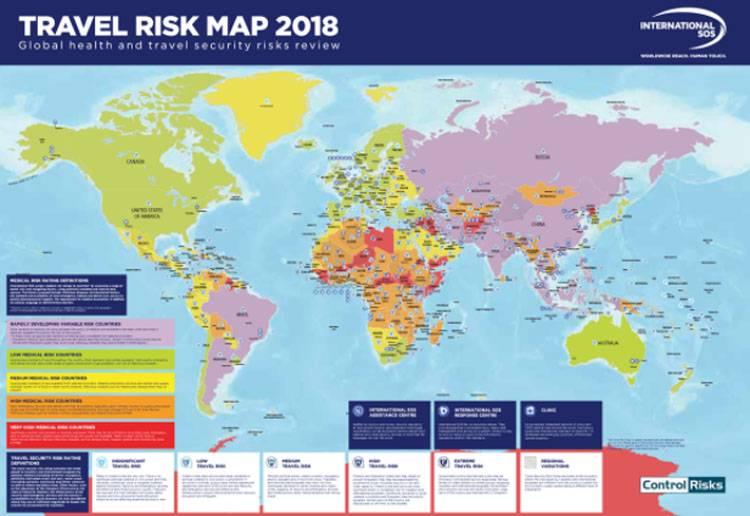 奇妙な評価国際SOS。 世界中の観光客の危険レベル