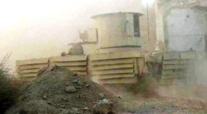 Armored monster in Syria. The car first hit the camera lens