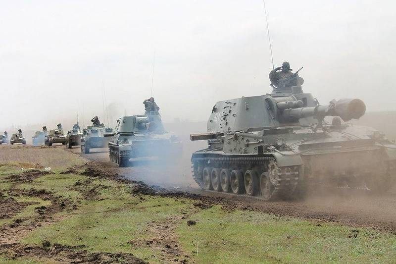 APU placed in the Donbass 152-mm howitzers