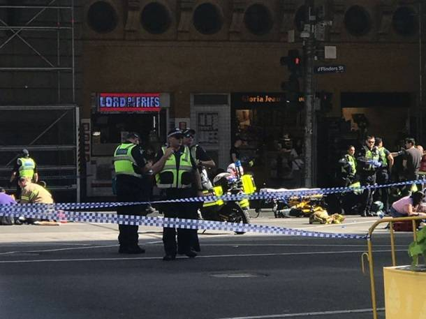 In Melbourne, a car drove into a crowd of people