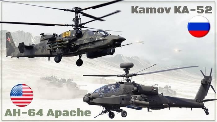 在美国比较了攻击直升机阿帕奇和短吻鳄