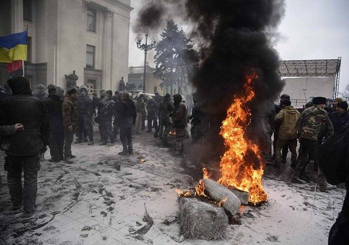 Near the building Rada there was a clash between the protesters and the police