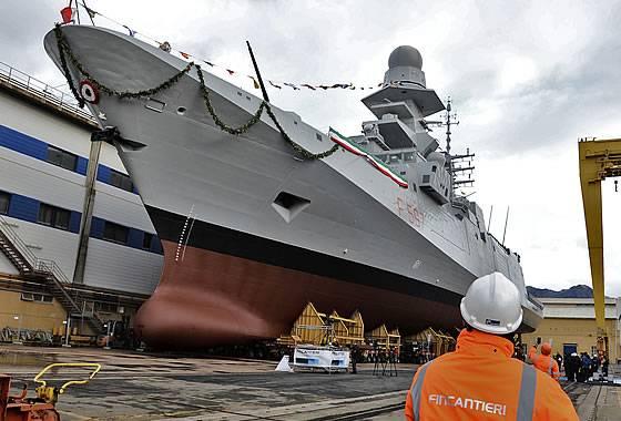 В Италии спущен на воду восьмой фрегат класса FREMM