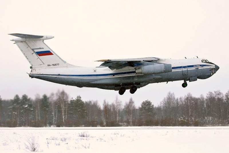 Besatzungen des Transportes Il-76MD bombardierten und feuerten Luftkanonen