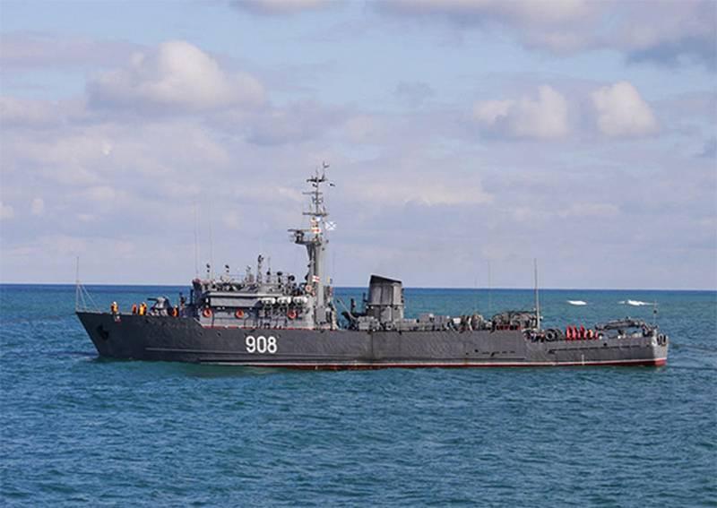 """O caça-minas da frota do Mar Negro, """"vice-almirante Zakharyin"""", tornou-se parte da formação permanente da marinha no mar Mediterrâneo"""