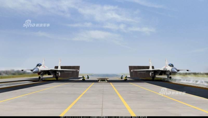 Тренировка ВМС Китая на наземном комплексе корабельной авиации