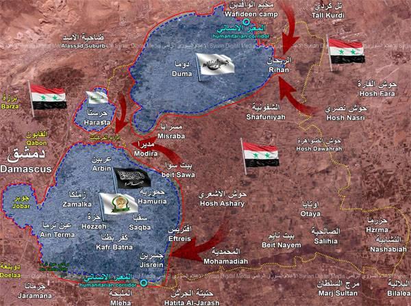 Die Gruppe der Militanten im Osten von Gute besteht aus drei Teilen