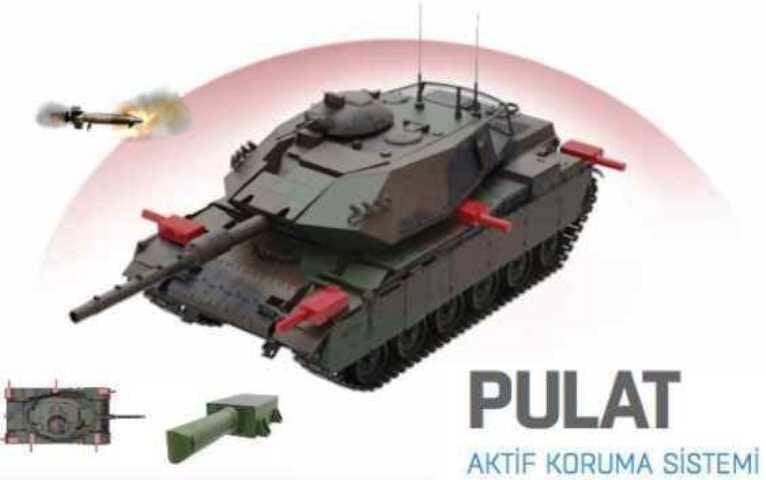"""तुर्की के रक्षा मंत्रालय ने अपने टैंक को सक्रिय रक्षा """"पुलट"""" से सुसज्जित किया"""