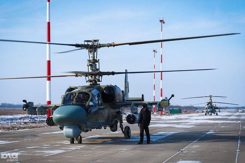 """两名Ka-52""""短吻鳄""""进入库班的空中军团"""