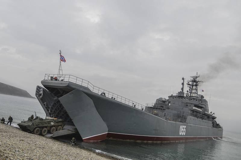 """Die BDK-Pazifikflotte """"Oslyabya"""" führte Artilleriefeuer durch und landete an einer nicht ausgerüsteten Küste"""