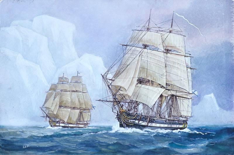 Шлюпы _Восток_ и _Мирный_ у берегов Антарктиды (картина художников Войшвилло и Стародубцева)