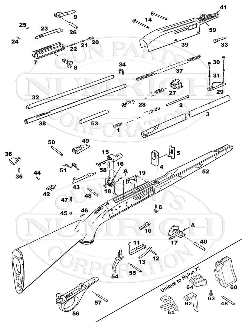 Rifle de carga automática Remington Nylon 66. Plástico en lugar de madera y metal.