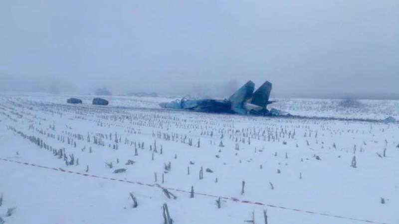 Фото разбившегося Су-27 украинских ВВС под Житомиром