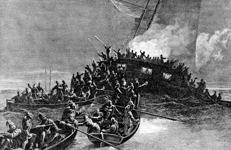 I coloni stanno salendo a bordo della goletta Gaspi