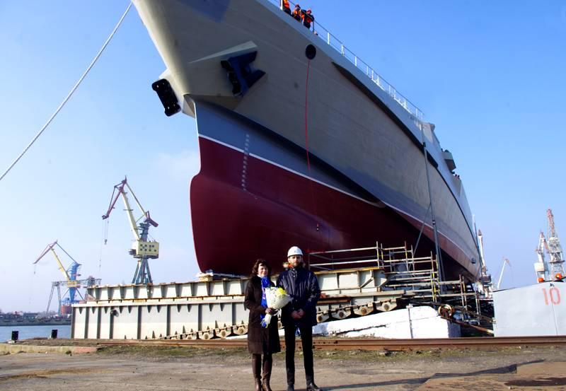 """A Kerch è stata lanciata la nave di pattuglia del progetto 22160 """"Pavel Derzhavin"""""""