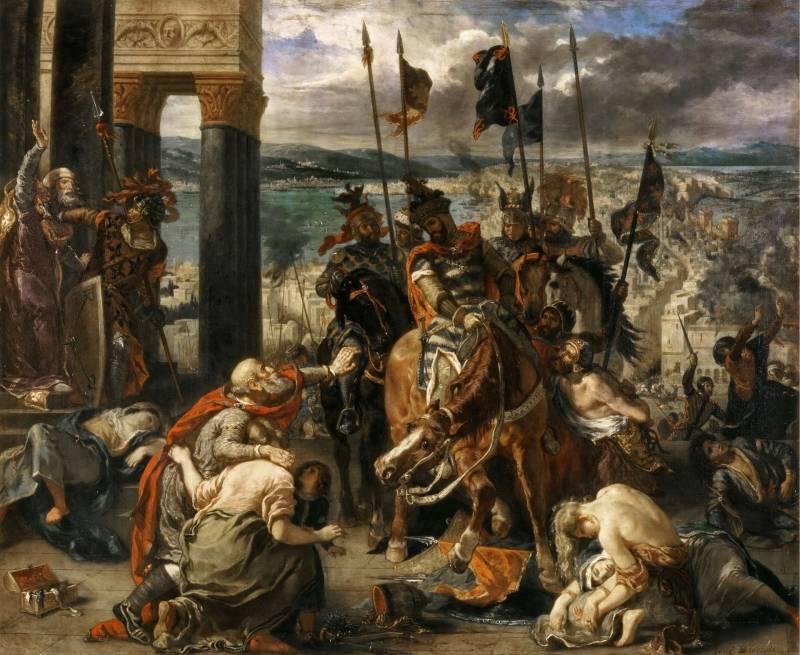 Взятие Константинополя крестоносцами за авторством Делакруа