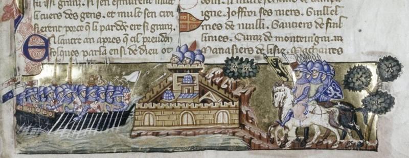Атака с моря на венецианском манускрипте XIII века