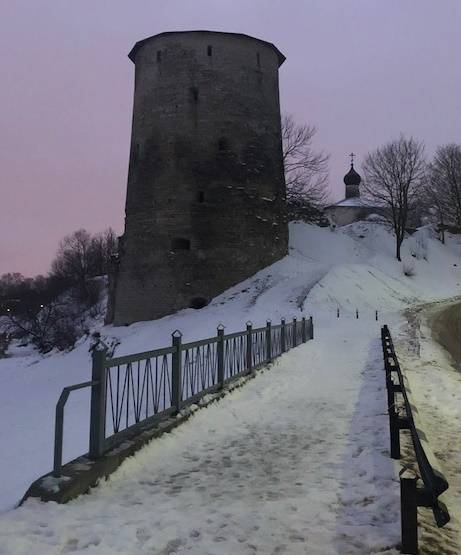 Winter evening the fortress of Pskov