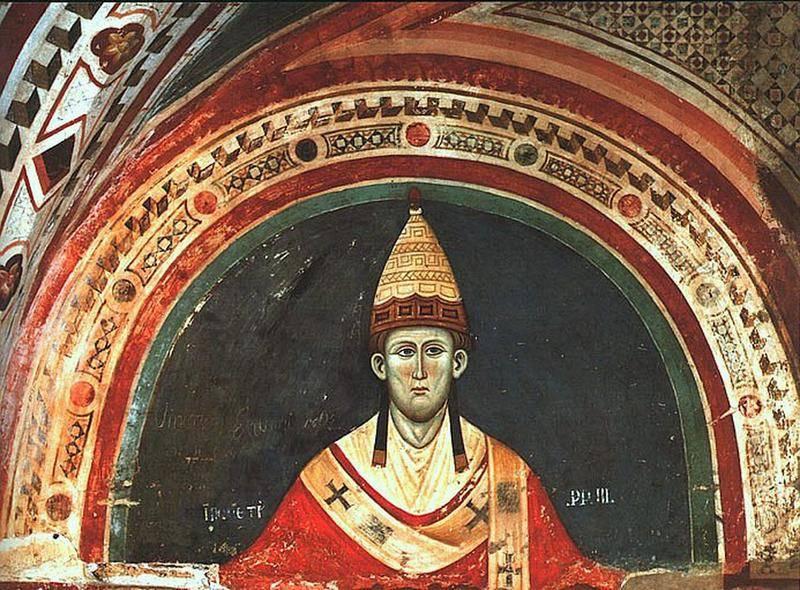 Папа Иннокентий III, прижизненный портрет, фреска, монастырь Субиако, Италия