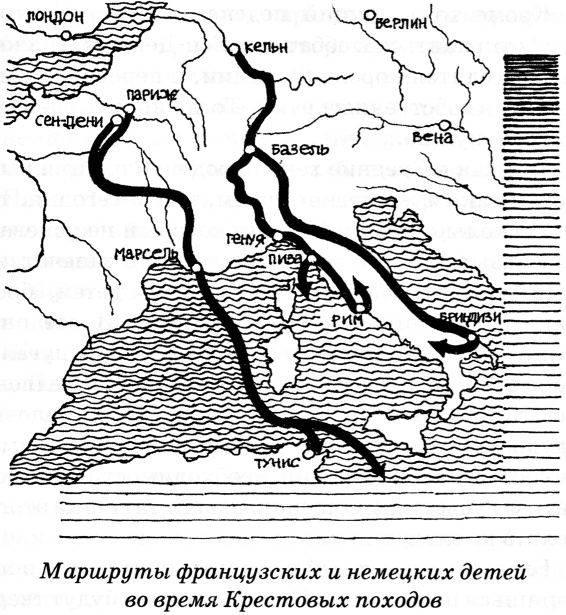 Карта детских крестовых походов