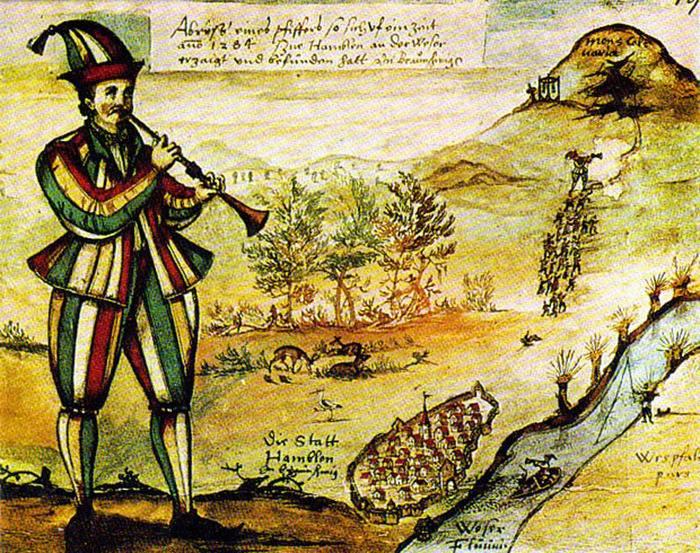 Гамельнский Крысолов, средневековая миниатюра