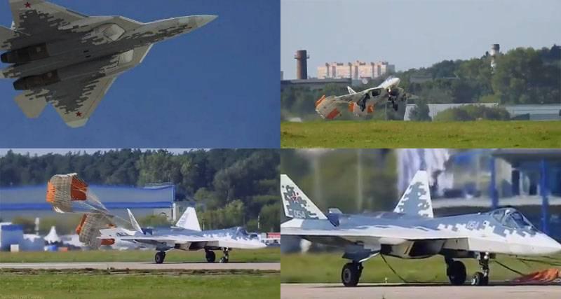 Су-57 выполнил короткую посадку на авиакосмическом салоне – МАКС-2019