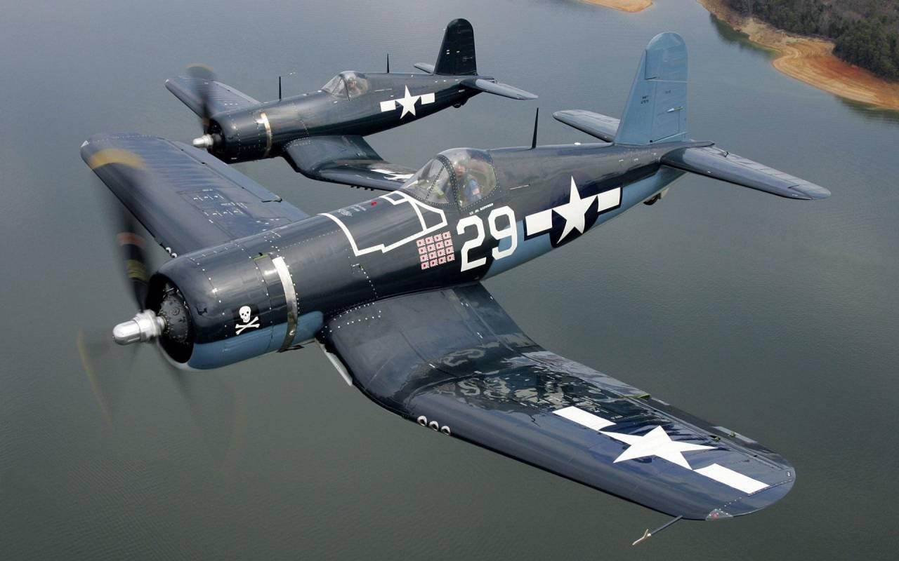 Обои истребитель, «корсар», Fg-1d, corsair. Авиация foto 15