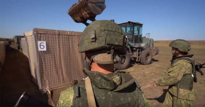 आरएफ सशस्त्र बलों के इंजीनियरिंग बलों द्वारा गेबियन का निर्माण
