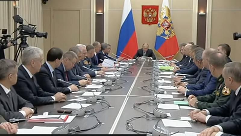 Wladimir Putin hielt eine Sitzung des Sicherheitsrates der Russischen Föderation zur Lage in Idlib ab