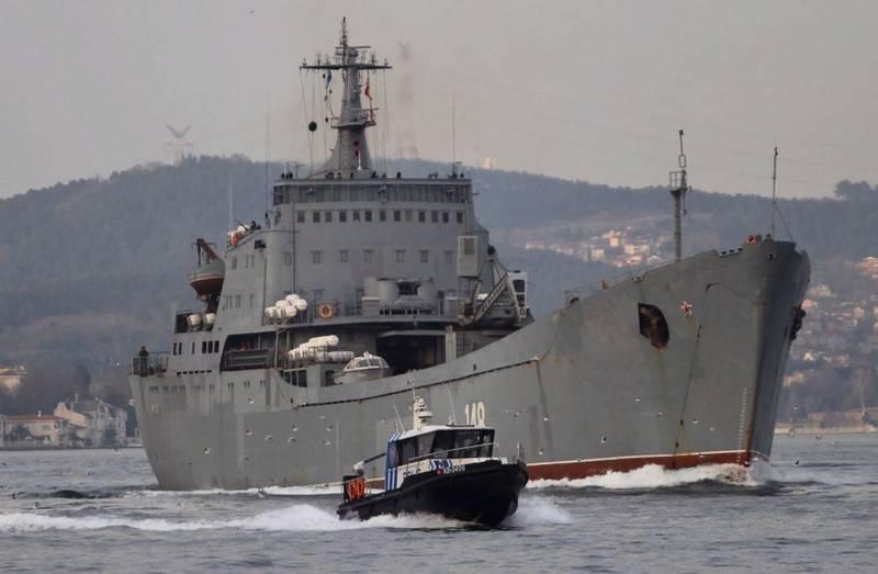 """A frota do Mar Negro BDK """"Orsk"""" prosseguiu pelo estreito até o mar Mediterrâneo"""