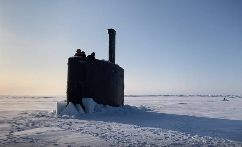 The video appeared on the web surfacing an American submarine in the Arctic