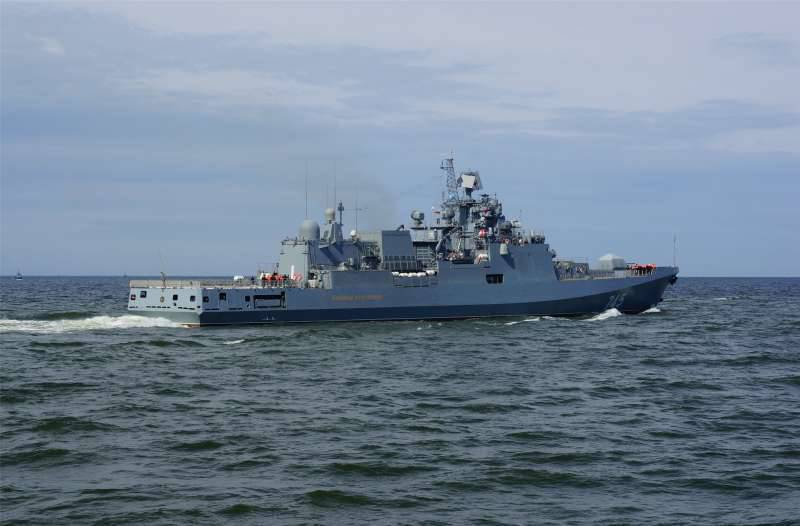The training of Russian frigates took place in the Mediterranean Sea