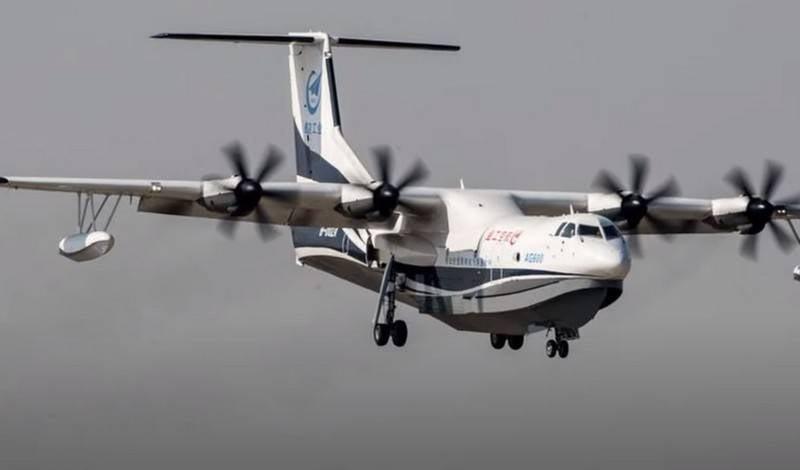 """Avión anfibio chino AG600 """"Jilong"""" fue probado por primera vez sobre el mar"""