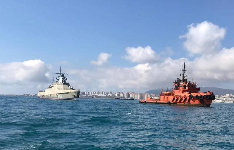 "The third corvette of project 22160 ""Pavel Derzhavin"" was towed to Novorossiysk"