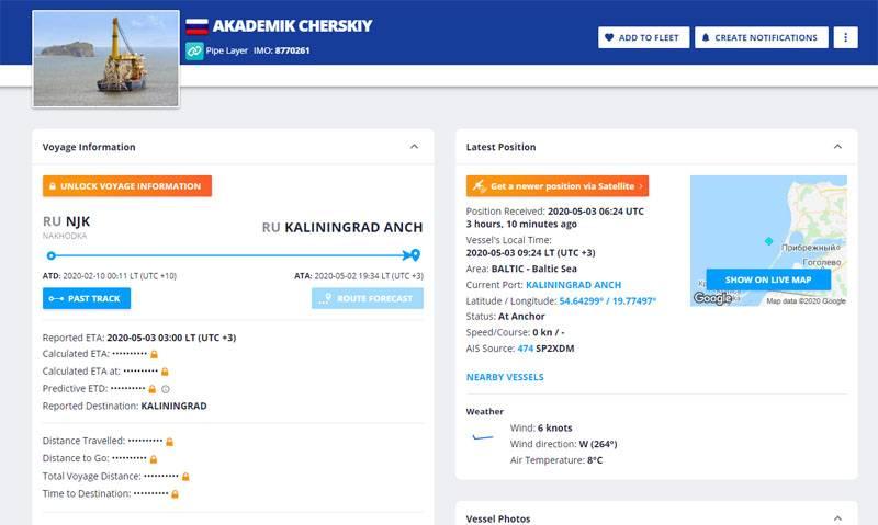Données confirmées sur l'arrivée du navire de pose de tuyaux Akademik Chersky à Kaliningrad