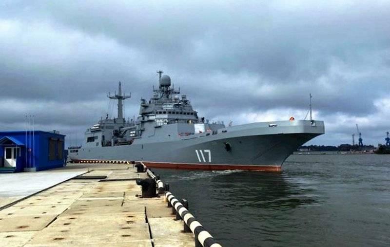 Le moment du début des essais d'État de la grande péniche de débarquement «Petr Morgunov»