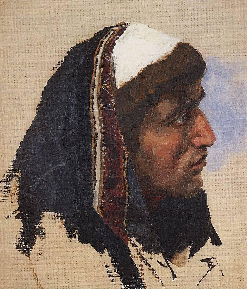 «Голова молодого человека в синем покрывале». Василий Поленов. «Христос и грешница»