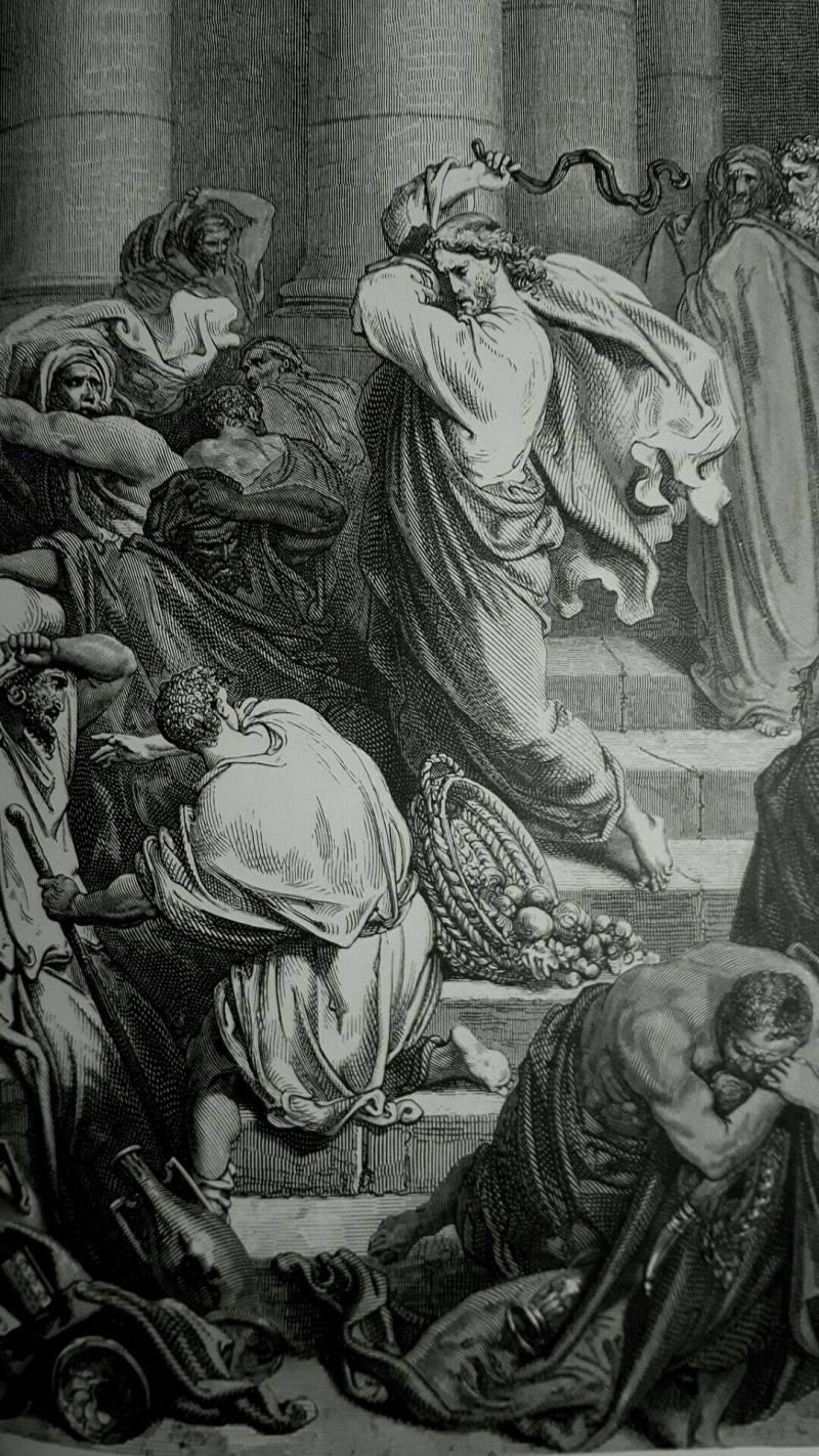 «Христос  изгоняет торгующих из храма». Работа Гюстава Доре, величайшего из  иллюстраторов всех времен и народов. Он был неподражаем в передаче  светотени, но использовать его работы, в том числе и «Библию в  иллюстрациях» в качестве иллюстративного источника по истории костюма,  нельзя