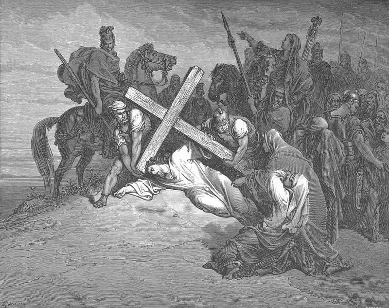 «Несение  креста на Голгофу. Гюстав Доре здесь, кажется сделал все возможное,  чтобы нельзя было точно определить ни место, ни время действия, ни  национальность персонажей…