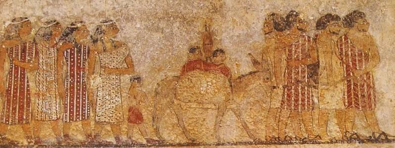 Фреска из гробницы Хнумхотепа II, относящаяся к XIX в. до н.э. и изображающая семитов, совершающих подношение номарху